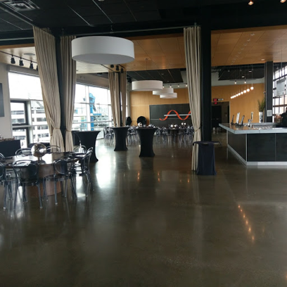 interior of New Riff Distillery in Newport Kentucky with tables and chairs setup
